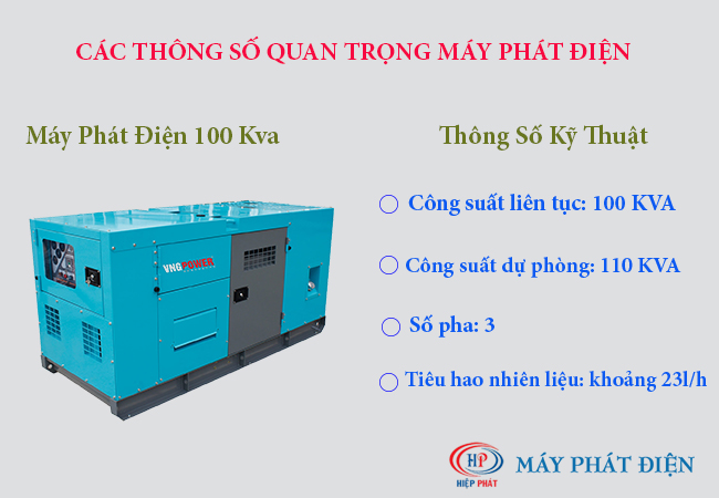 Các thông số quan trọng của máy phát điện