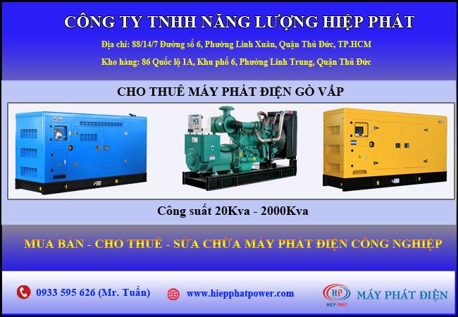 Cho thuê máy phát điện quận Gò Vấp